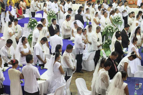 Traditional Valentine's Day Mass Wedding in the Philippines